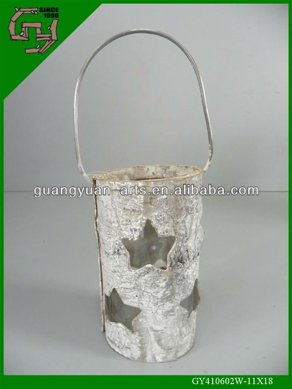 natural birch bark white wash wooden lantern