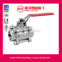 3PC Stainless Steel Ball Valves Threaded Ends 1000WOG with Lockable Handle Ball Valves DN32