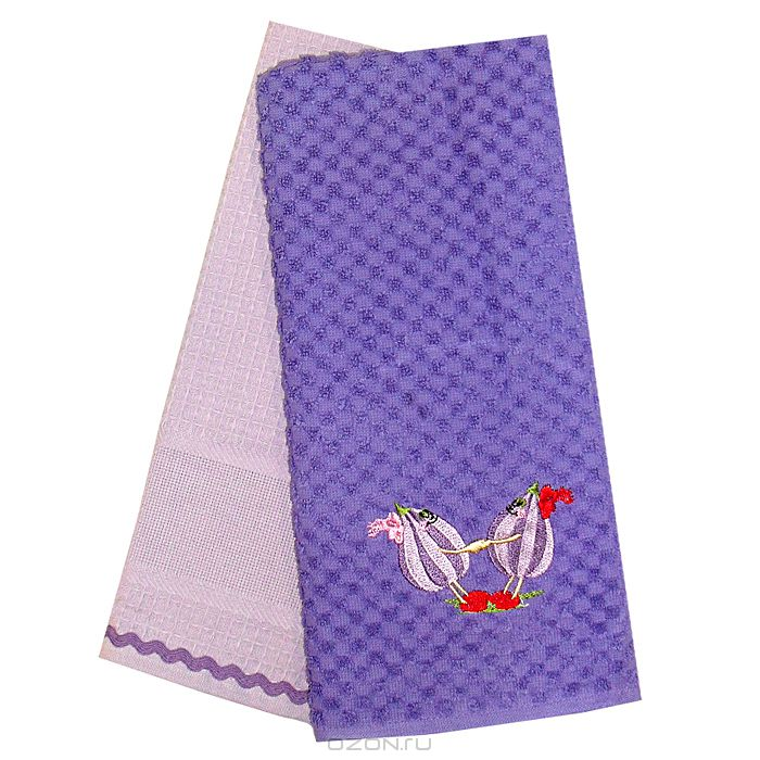 100% cotton jacquard figs embroidered towel in purple