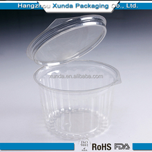 PE/PP round clear/transparent plastic food/fruit container/box/packaging with lid/mug/cover