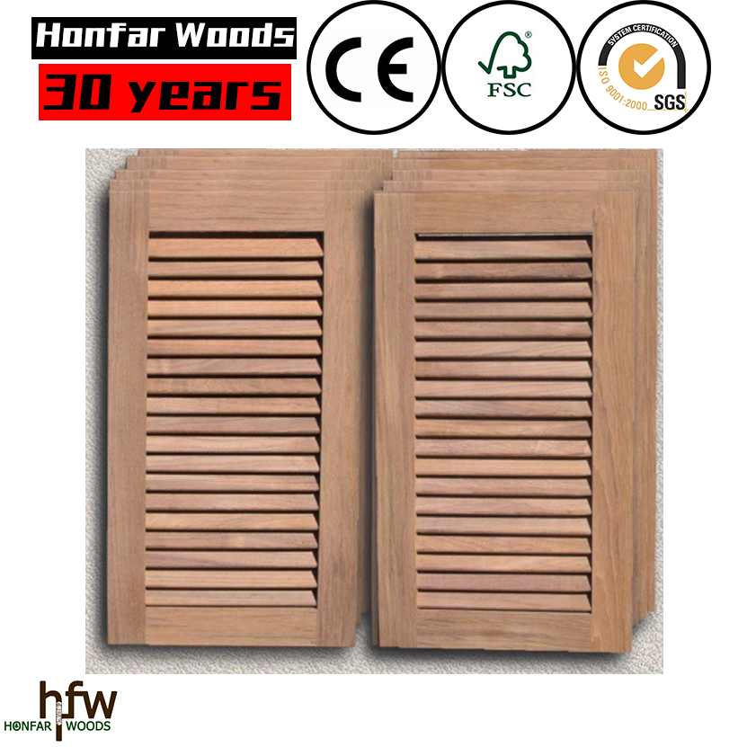 European wood design exterior wood louvered shutters OEM