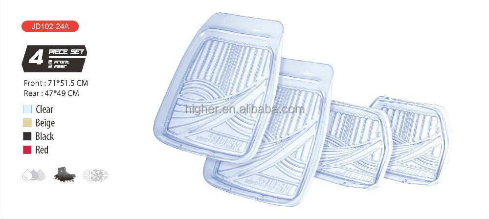 4pcs 3D PVC Clear Car Mat