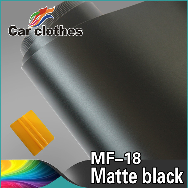 High Quality 1.52x30m air free bubble PVC Adhesive Vinyl Rolls Black Matt Film Decorative Sticker Car Wrap