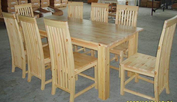 Mesa de comedor de madera de pino y una silla-Sets para Sala Comedor ...