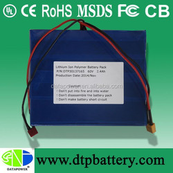 DTP supply self-balancing unicycle lithium polymer battery 60V 2.4Ah