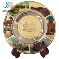 promotion gift items etching 999 gold souvenir brass metal plate trophy