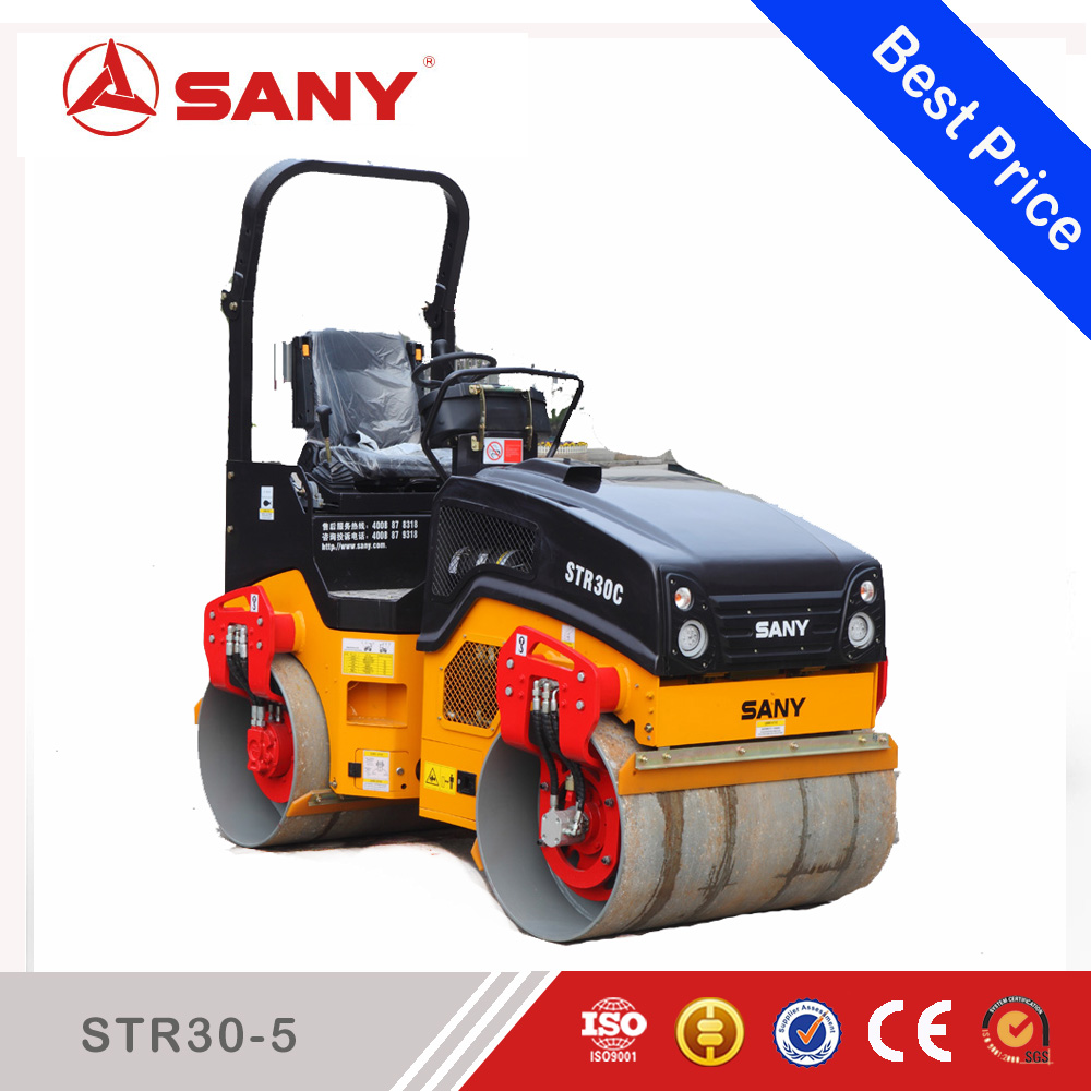 SANY STR30-5 STR Series 3 ton self-propelled Vibratory Tandem Road Roller and 3 ton double drum road roller