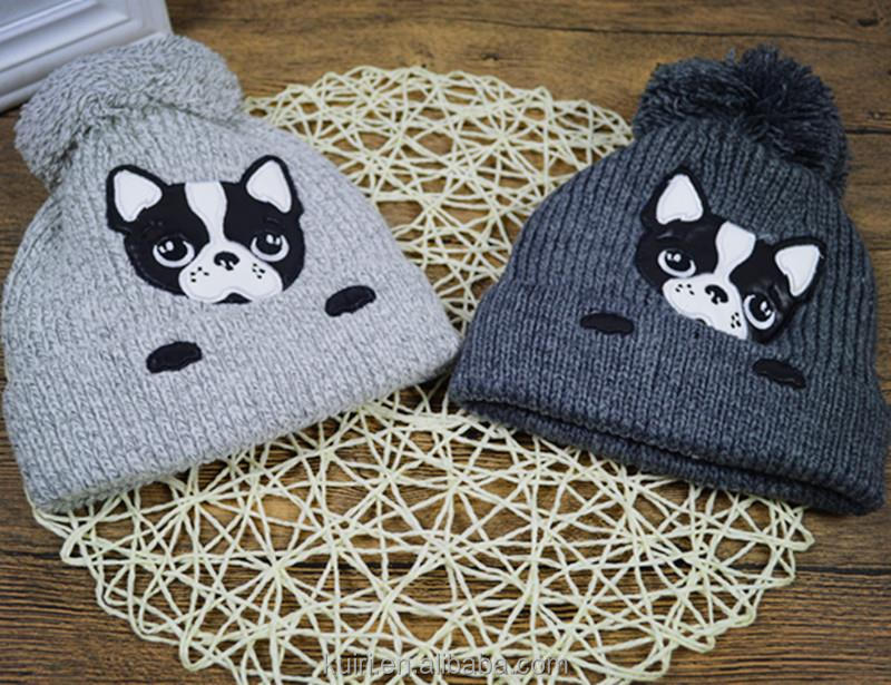 Korean Version Children Hat Cartoon Dog Fluff Line Cap Sphere Knitted Hat New Style Autumn Winter Hats Boys And Girls Cold Cap