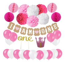 First Birthday Decoration Set for Girl 1st Baby Girl Birthday Party Hat Gold Crown, Cake Topper -ONE, I AM ONE Banner