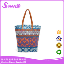 China supplier sublimation canvas handbag with pu handle