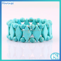 wholesale bohemian slave piece ring hipster bronze chain three turquoise beads triangle hand bracelet