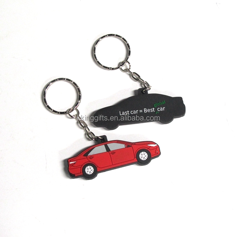 Wholesale cheap custom keychains no minimum / rubber name car shape keychains