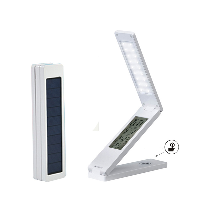 Promotion Gift Children Study Folding Solar Rechargeable Led Reading Desk Lamp With Calendar