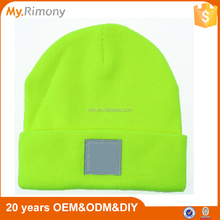 Custom fluorescent yellow/green beanie knitted hat and cap