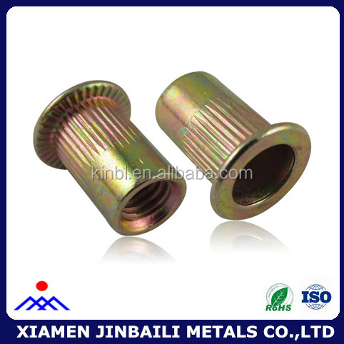Xiamen made colored zinc plated flat head knurled rivet nut