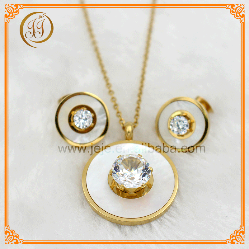 Best Selling Wholesale Stainless Steel Luxury White Shell Jewelry Diamond Set