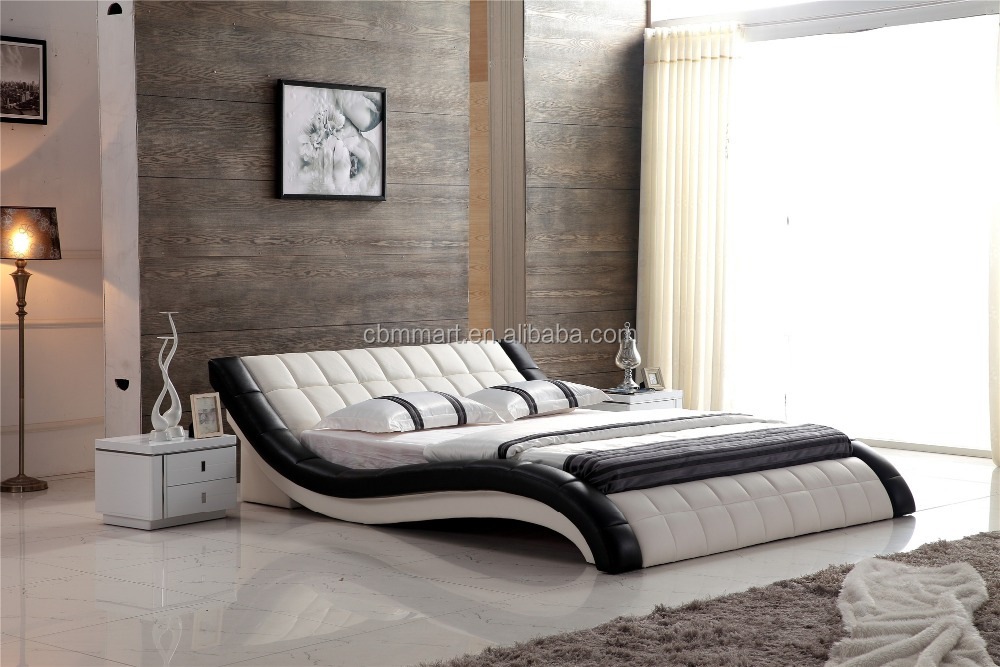 2017 white and black mixed color real leather bed room <strong>furniture</strong>