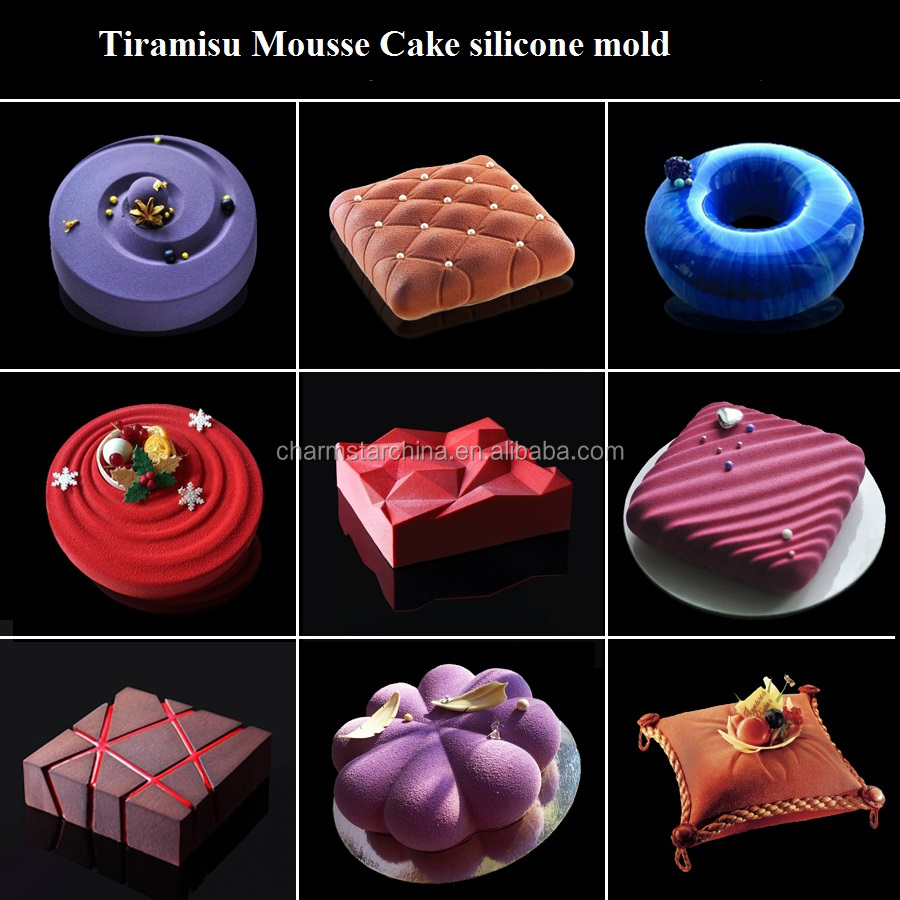 factory supply food grade 9 patterns silicone mousse cake mold