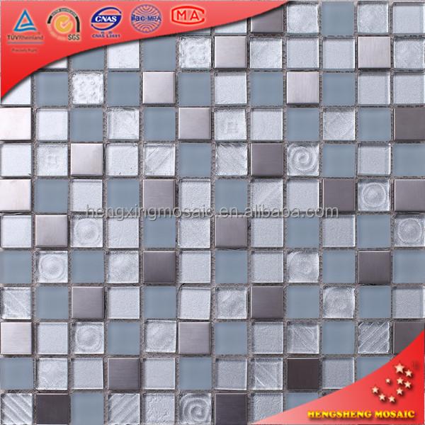 square glass stainless steel mosaic kitchen backsplash