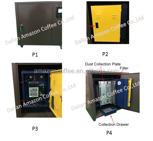 An Electrostatic Precipitator (ESP) work with 1kg/2kg/3kg/6kg coffee roaster in closed environment