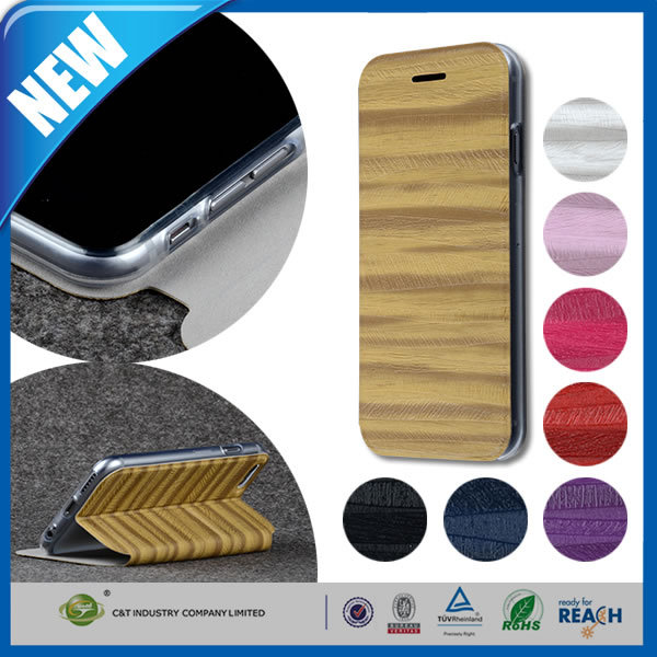 C&T Retro Wood Texture Premium PU Leather Flip Stand Wallet Cover Case for Apple iPhone 6 4.7 Inch