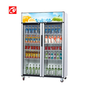 Supermarket pulling glass door vertical showcase and stand up display cooler freezer