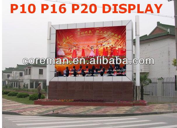 promotion!!!! shenzhen led p10 outdoor 1r1g1b full color true color rgb led display outdoor p10 p16