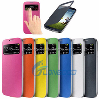 S4 Cases Luxury openning Window Flip Leather Phones Case For Samsung S4 I9500 SIV Card Slot Holster Back Cover For S4