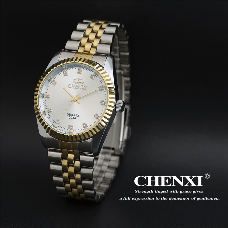 CHENXI 004A Married 2 Tones Couple Watches Stainless Steel Quartz Analog Lover's Diamond Numeral Men Women Wristwatches