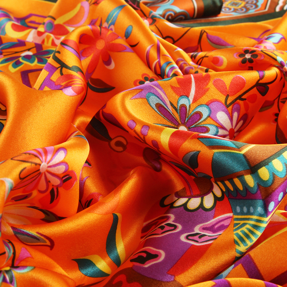 January Koma cheap satin scarf orange silk scarf