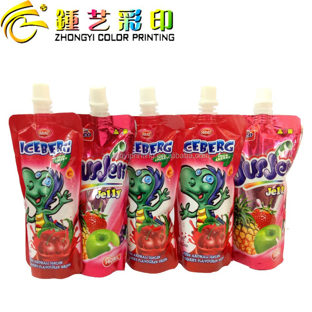 Guangdong customized printed plastic stand up pouch with spout for juice,plastic food packing bag packing&printing