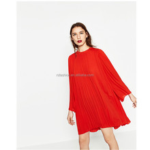 Latest casual dress o neck long sleeve women pleated dress plus size