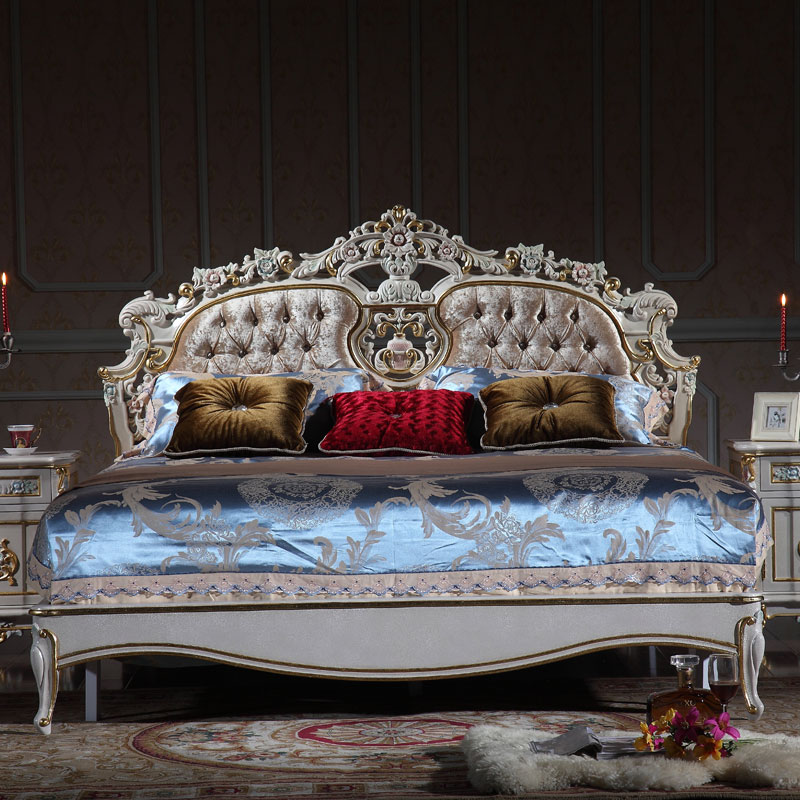 luxury wooden bedroom furniture - solid wood baroque leaf gilding <strong>bed</strong>