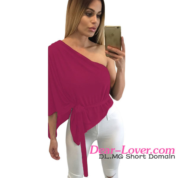 Wholesale Wine Belted Flare One Shoulder hot sex photo image girls crop top