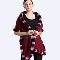 CX-B-P-46C Women Fashion New Design Fur Trim Pashmina Shawl