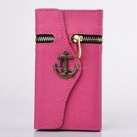 Corsair Anchor Zipper Pattern Wallet Stannd Flip Leather Case ID Card Slots for Samsung Galaxy S5 i9600