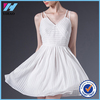 Yihao Summer New Fashion White Spaghetti Strap Ladies Dress Sleeveless V-neck Sexy Casual Dresses For Women 2015