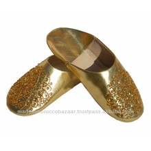 Golden Moroccan Sequins Leather Slippers