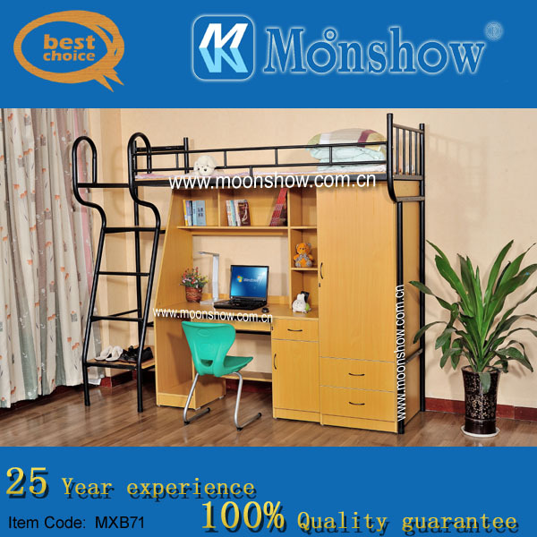 Hige quality single bunk bed with study table
