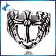custom stainless steel crossing finger rings jewelry for man