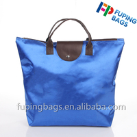 Custom logo recycled polyester tote zipper foldable bag with leather for promotional