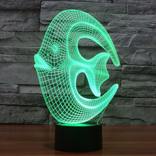 Factory direct wholesale acrylic colorful coral fish 3D light colorful lamp Nightlight visual light lamp