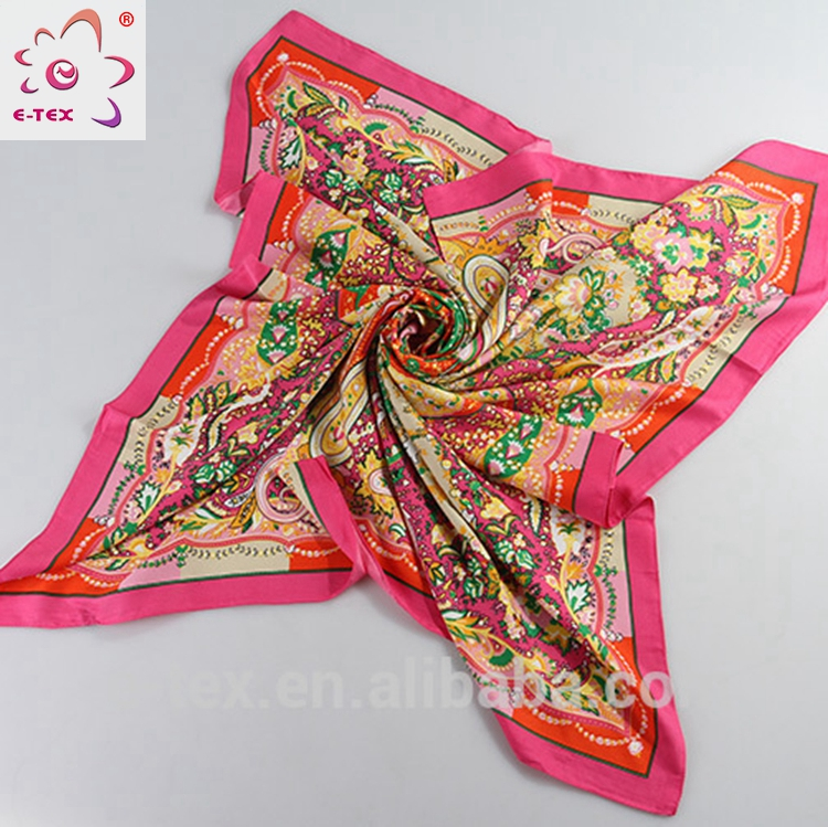 Professional manufacture Casual Polyester digital print indian silk scarf
