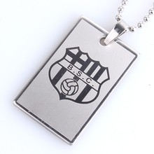 silvery badge Tag football club Stainless Steel pendant necklaces