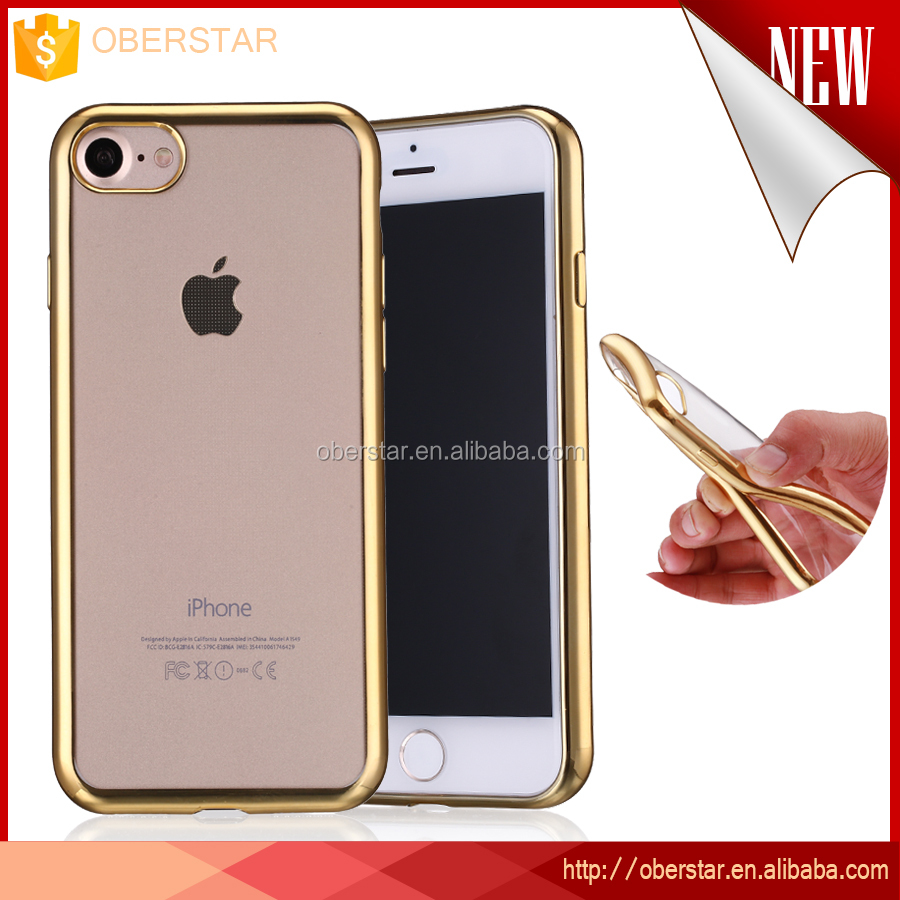 i7 Phone <strong>Accessories</strong> Protective 7plus Cover Slim Electroplating for iPhone 7 TPU Transparent Phone Case