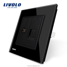 Manufacture Livolo Black Crystal Glass Switch Panel, 2 Gangs Wall TVTel Socket Outlet VL-C7-1VT-12 Without Plug adapter