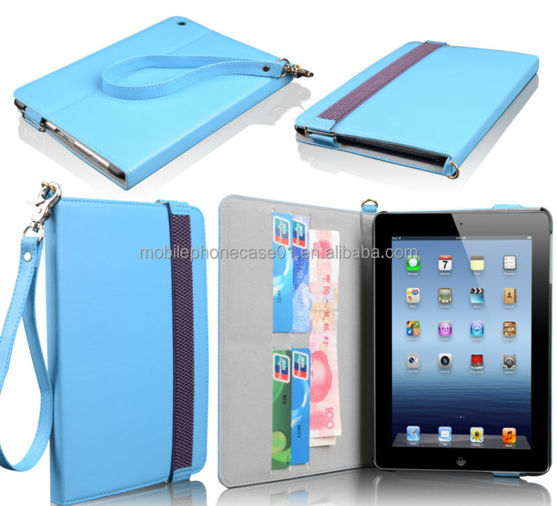PU book style leather stand pu case for Ipad mini