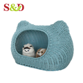 Washable pe rattan dog house plastic cat furniture for small pet
