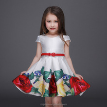 New Model Girl Dress Rose Baby Girl Printed Casual Fashion Kids Summer Dresses