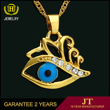 2017 newest 18k gold plated eye shape pendant charms jewelry